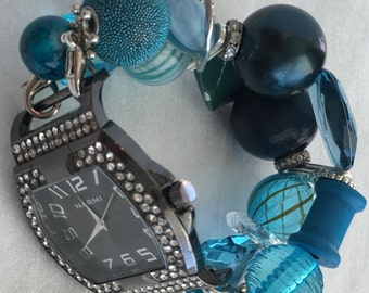 PRE~HOLIDAY SALE!!! Teal Blue Stretchy Chunky Beaded Interchangeable Watch Band