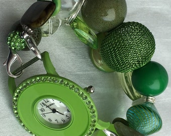 CLOSING SHOP!!! Green Stretchy Chunky Beaded Interchangeable Watch Band