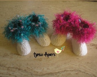 SALE: Fluffy Baby Booties 0-3, 3-6, 6-9, 9-12 months  Made to Order