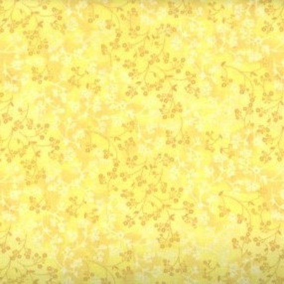 """Yellow Flower Fabric,Yellow Floral Fabric,Yellow Tone on Tone Fabric,Yellow Tonal Fabric,END OF BOLT 1/2 Yard by 44"""" Wide"""