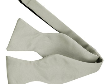 Men's Solid Silver Self-Tie Bowtie, for Formal Occasions