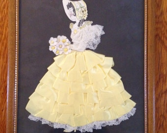 Vintage Ribbon Art Paper Doll with Yellow & Lace Dress