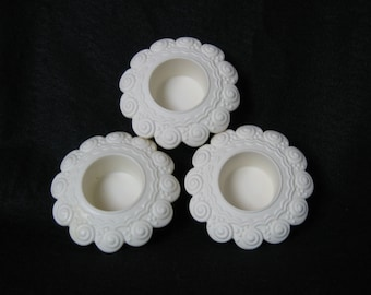 PartyLite Vintage Sea Drifters Bisque Tealight Candle Holders Set of 3.