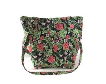 Floral Purse, Small Tote Bag, Green Leaves, Coral Carnations, White Flowers, Handmade Handbag, Fabric Bag, Teen Purse, Shoulder Bag