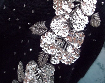 Silver Sequins and Beads on Black Sweater by Lindsey Blake