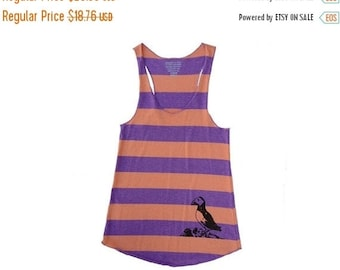 Clearance Puffin Print Large Stripped Eco Tank Top