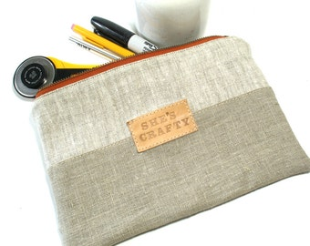 She's Crafty Linen Clutch, Tool Bag, Knitting Needle Case, IN STOCK