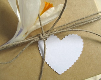 Scalloped Heart Gift Tags, White, Weddings, Showers, Birthdays, Party Favor Tags, Heart Tags, Set of 20