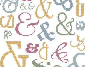 Ampersand Typography Poster Cross Stitch Pattern