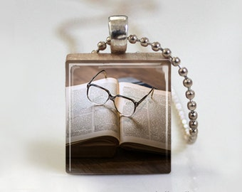 Book Worm Reading  - Scrabble Tile Pendant - Free Ball Chain Necklace or Key Ring