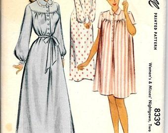 1950s Nightgown Nighty Pattern Long Housedress Button Front Gathered Yoke McCalls 8339 Size Small 32 Bust