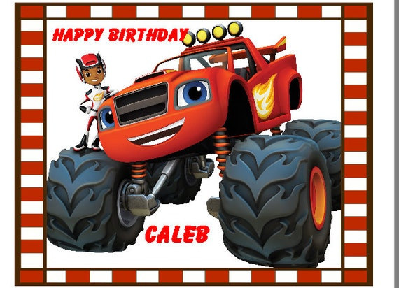Blaze And The Monster Machines Cake Cupcake Edible Sheet Image Birthday Wedding Party Toppers Personalized Decorations Favors Many Sizes