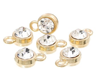 10 Gold Plated Rhinestone Drop Charms, 8mm circle with crystal embedded in center  chg0162