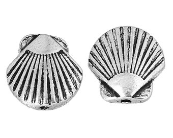 10 Antique Silver Striped Seashell Spacer Beads, Scallop shell beads, 6x5mm bme0380