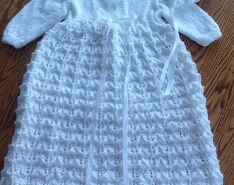 New hand knit Christening Gown and Bonnet Set