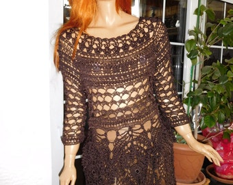 MADE TO ORDER handmade crochet silk top/dress in chocolate brown lace top wearable art fashion design for women gift idea by golden yarn