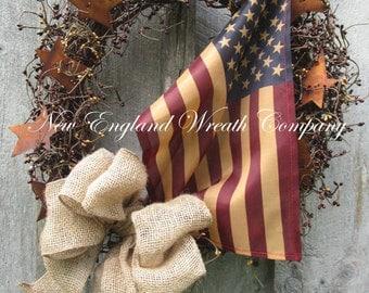 Americana Wreath, Patriotic Wreath, Fall Wreath, Primitive Americana, Patriotic Country, Veteran's Day Wreath, Tea Stained Flag Wreath