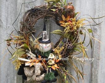 Halloween Wreath, Witch Wreath, Fall Wreath, Autumn Wreath, Harvest Decor, Whimsical Fall Wreath, Primitive Halloween Wreath, Fall Woodland