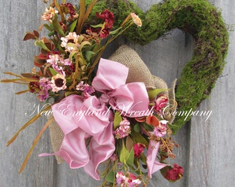 Heart Wreath, Moss Wreath, Spring Wreath, Elegant Spring Wreath, Easter Wreath, Country French Wreath, Wedding Wreath, Valentine Wreath