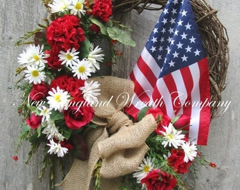 SUPER SALE Patriotic Wreath, Americana Wreath, American Flag, 4th of July Wreath, Memorial Day, Veterans Day, Military, Flag Wreath, Floral