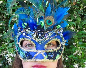 One of a Kind - Peacock blue Masquerade Collectible Mask