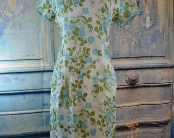 Liberty of London vintage midcentury 1950s 60s  all linen dress floral flowers