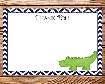 Alligator Thank You - INSTANT Download - 4x6, Green, Navy, Chevron Stripes, Thank you, 1 PDF and 1 JPEG, 1007