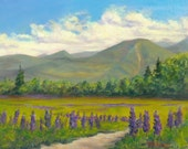 """LUPINE FOOTHILLS 8""""x10"""" oil painting by Elaine Farmer"""