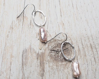 white freshwater pearl drop off hammered sterling silver oval drop earring, white stick pearl, ildiko jewelry