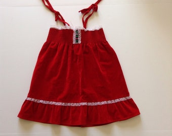 Vintage Red Velvet Folk & Lace Trim Dress (4t/6x)