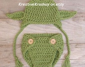"""Chunky Yoda  Hat """"Star Wars Inspired"""" / Hat with Earflaps & Diaper Cover - (newborn-3 months, 3-6 months sizes)"""