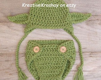 "Chunky Yoda  Hat ""Star Wars Inspired"" / Hat with Earflaps & Diaper Cover - (newborn-3 months, 3-6 months sizes)"