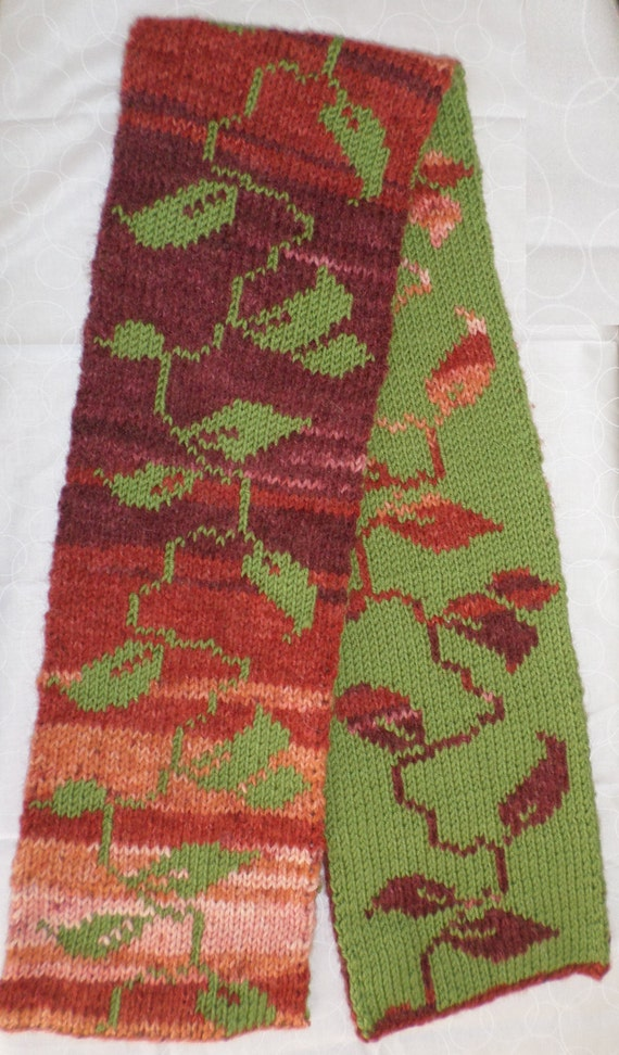 Falling Leaves Double Knit Scarf Pattern