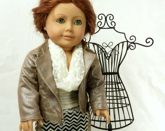 Fashion Outfit for 18 inch Doll Metallic Taupe Faux Leather Moto Jacket, Chevron Maxi Skirt, Wide Leg Pants, Lace Tank and Infinity Scarf