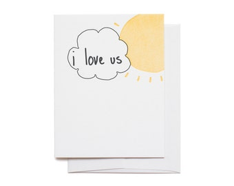 I Love Us Cloud Letterpress Greeting Card