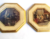 Vintage Italian Florentine Victorian Scenes Wall Plaques Pictures / Victorian Life Gold Gilt /Decorative Victorian People Prints