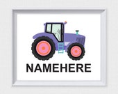 children's tractor print - printable instant download file diy customised girls room decor, farmer farm nursery art, kids room decor purple
