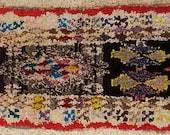 FREE SHIPPING WORLDWIDE TT22112 vintage boucherouite rug, moroccan rugs , rag rug, berber tribal art, morocco carpets, wall art