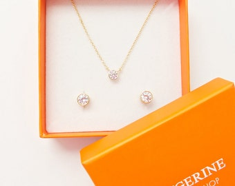 GIFT SET - Solitaire Necklace Diamond Earring  Gift Set - Diamond Necklace - Floating Diamond - Diamond Earrings