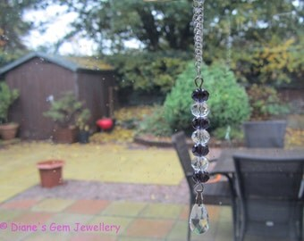 A pretty handmade crystal suncatcher window charm car charm Xmas decoration in purple and clear Chakra  #196 UK seller