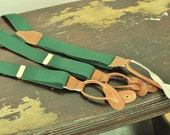 Mens Green CAS Braces Suspenders Button On Vintage Gold Brass Hardware Brown Leather Made in W. Germany Mens Fashion Unisex