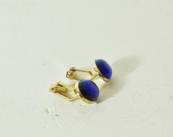 Vintage Cuff Links Mens Jewelry Cobalt Blue Gold Tone Oval Mid Century Swank CuffLinks Mens Gift for Dad Guy Man Less than 20 Dollars
