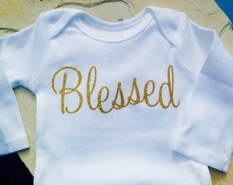 Personalized Onesie, Monogrammed Shirt, Monogrammed Onesie, Personalized Holiday Onesie, Bring Home Baby Onesie, Blessed Onesie, Blessed