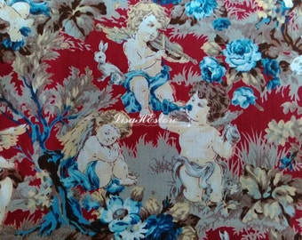 SALE - Three angels, red, 1/2 yard, pure cotton fabric