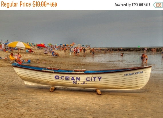 SALE 20% OFF Ocean City Beach Photography New Jersey Shore Lifeguard Boat Sand Summer Afternoon Color Photograph Art Print  Home Decor