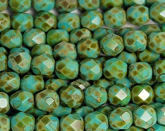 Opaque Turquoise Picasso Czech Glass Firepolished 6mm Beads -25