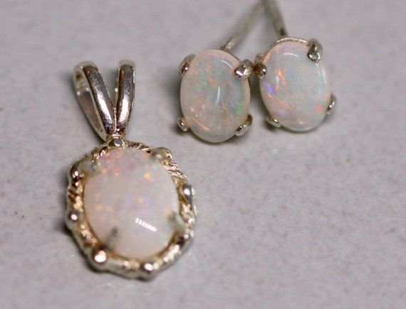 Australian White Opal Earrings and Pendant Set