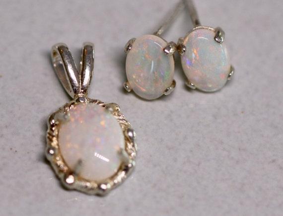 Australian White Opal Earrings and Pendant Set