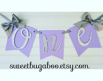 "Purple and Silver ""One"" Highchair Banner"