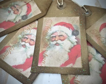 Vintage Inspired Christmas Gift Tags - Set of 5 - Classic Vintage Santa Gift Tags - Primitive Christmas - Paper Ephemera - Tags